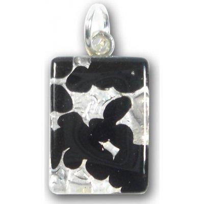 1 Murano Glass Small Oblong Pendant - Black Silver Foiled