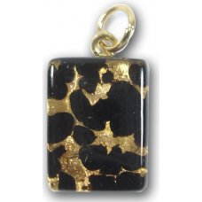 1 Murano Glass Small Oblong Pendant - Black Gold Foiled