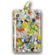 Murano Glass Medium Oblong Pendant - Gold Foiled Multi Coloured