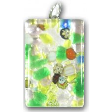 Murano Glass Medium Oblong Pendant - Silver Foiled Green