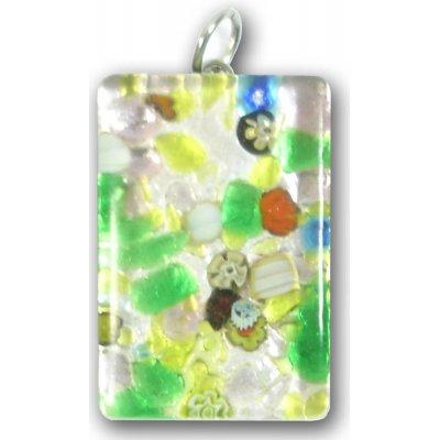 Murano Glass Medium Oblong Pendant - Silver Foiled Green