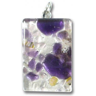 Murano Glass Medium Oblong Pendant - Silver Foiled Purple