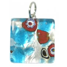 1 Murano Glass Pendant - Medium Square Silver Foiled Blue