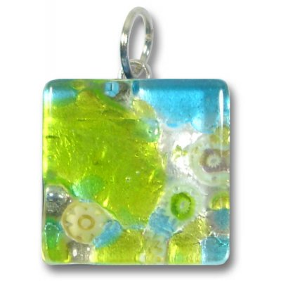 1 Murano Glass Pendant - Medium Square Silver Foiled Green