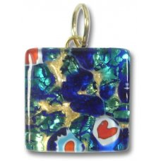 1 Murano Glass Pendant - Medium Square Gold Foiled Blue