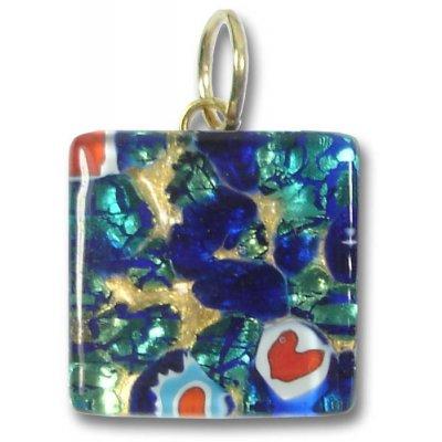 1 Murano Glass Pendant - Medium Square Gold Foiled Blue