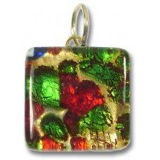 1 Murano Glass Pendant - Medium Square Gold Foiled Green