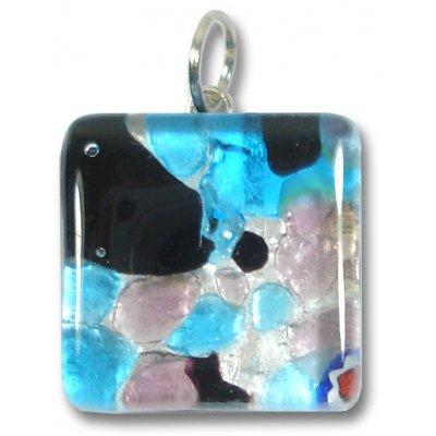 1 Murano Glass Pendant - Medium Square Silver Foiled Blue