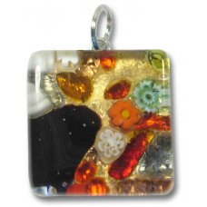 1 Murano Glass Pendant - Medium Square Gold Foiled Multi Coloured