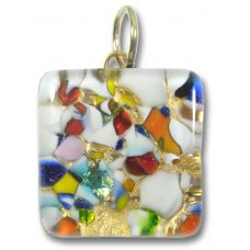 1 Murano Glass Pendant - Medium Square Silver Foiled Multi Coloured