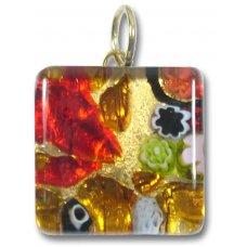 1 Murano Glass Pendant - Medium Square Gold Foiled Red