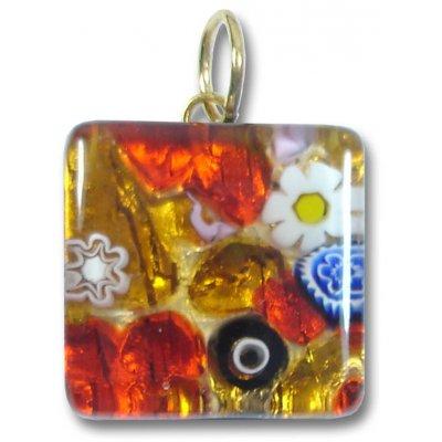 1 Murano Glass Pendant - Medium Square Gold Foiled Red