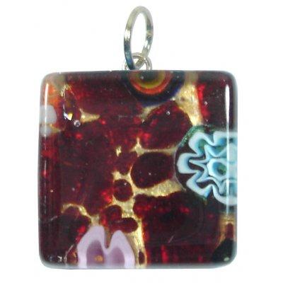 1 Murano Glass Pendant - Medium Square Gold Foiled Purple