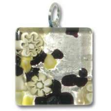 1 Murano Glass Pendant - Medium Square Silver Foiled Black