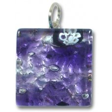 1 Murano Glass Pendant - Medium Square Silver Foiled Purple