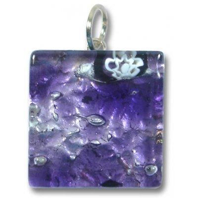 1 Murano Glass Pendant - Medium Square Silver Foiled Purple