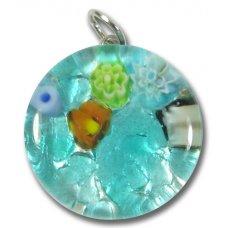 1 Murano Glass Pendant - Medium Round Silver Foiled Blue
