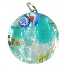 1 Murano Glass Pendant - Medium Round Silver Foiled Blue