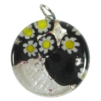 1 Murano Glass Pendant - Medium Round Silver Foiled Black