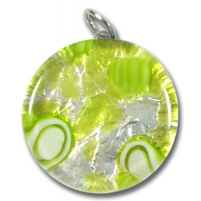 1 Murano Glass Pendant - Medium Round Silver Foiled Lime