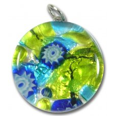 1 Murano Glass Pendant - Medium Round Silver Foiled Lime & Blue