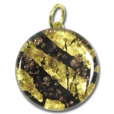 1 Murano Glass Pendant - Medium Round Gold Foiled Black