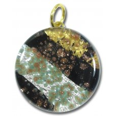1 Murano Glass Pendant - Medium Round Gold & Silver Foiled Black