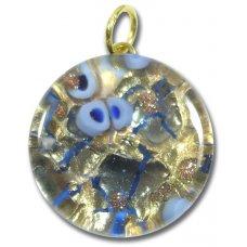 1 Murano Glass Pendant - Medium Round Gold Foiled Blue