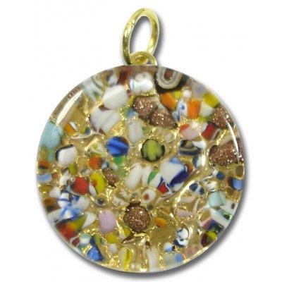 1 Murano Glass Pendant - Medium Round Gold Foiled Multi-Coloured