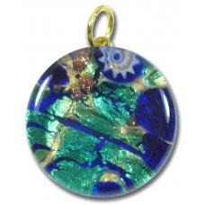1 Murano Glass Pendant - Medium Round Gold Foiled Blue Green