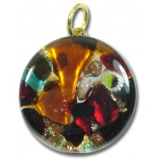 1 Murano Glass Pendant - Medium Round Gold Foiled Multi-Coloured