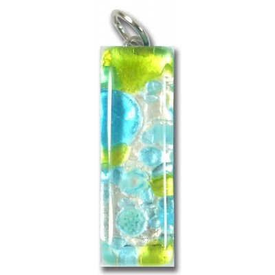 Murano Glass Thin Oblong Pendant - Silver Foiled Green