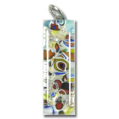 Murano Glass Thin Oblong Pendant - Silver Foiled Multi-Coloured