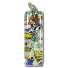 Murano Glass Thin Oblong Pendant - Silver Foiled Multi-Coloured