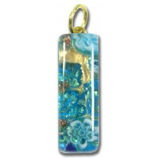 Murano Glass Thin Oblong Pendant - Gold Foiled Blue