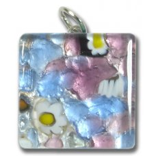 1 Murano Glass Pendant - Medium Square Silver Foiled Blue & Purple