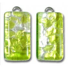 Pair Murano Glass  Small Oblong Pendants – Silver Foiled Green