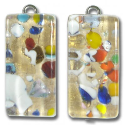 Pair Murano Glass  Small Oblong Pendants – Gold Foiled Multi-Coloured