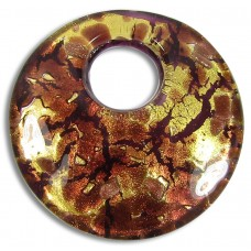 Murano Glass 50mm Disc Goldfoiled Pendant Topaz & Chocolate Amethyst