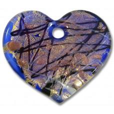 Murano Glass Goldfoiled Heart Pendant Blue Base