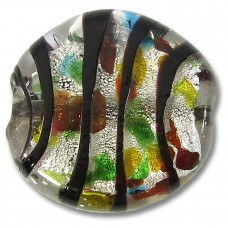 1 Murano Glass 35mm Flat Disc Silver Foiled Multicoloured Bead