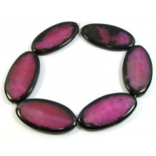 1 Strand Dyed Fuchsia Agate with Black Edges Beads