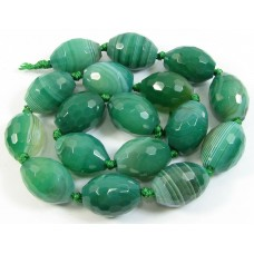 1 Strand Dyed Green Agate Faceted Oval Beads