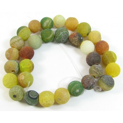 1 Strand Yellow and Green Dyed Agate 12mm Round Beads