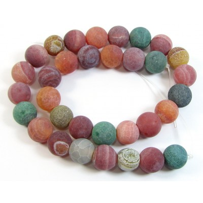 1 Strand Mixed Colours Frosted 12mm Dyed Agate Round Beads