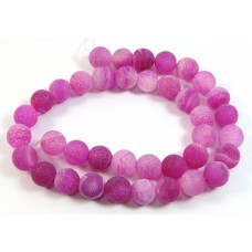 Dyed Raspberry Pink Frosted Agate 10mm Round Beads
