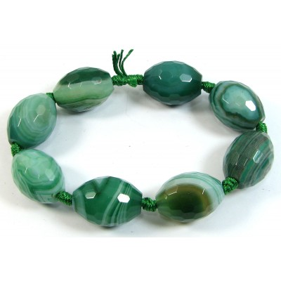 1 Short Strand Faceted Green Striped Agate 20mm Oval Beads