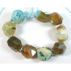 1 Strand Rough Facet Turquoise Dyed Agate Pebble Nugget Beads