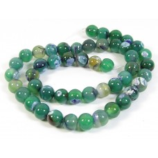 1 Strand Green and Purple Dyed Agate 8mm Round Beads