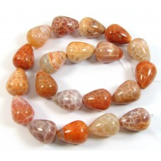 1 Strand Fire Agate Drop Shaped Beads